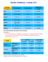Horaires et tarifs piscine Tournesol